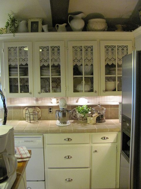 Curtains In The Cabinets Shabby Chic Kitchen Vintage Kitchen