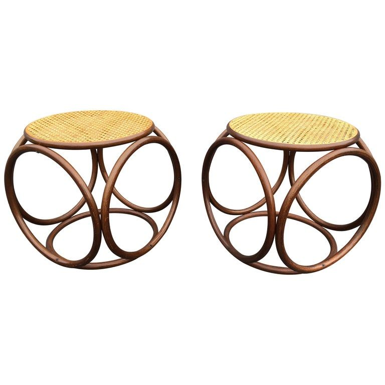 Pair Of Michael Thonet Stools Ottomans Side Tables Cane And