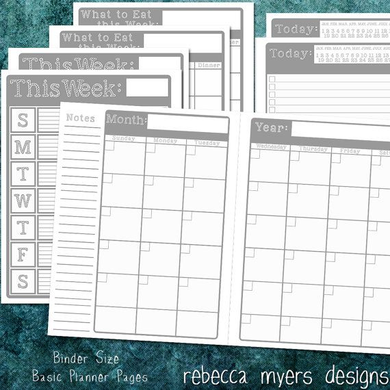 Printable Organizer Planner Pages Full Size Binder Grey On