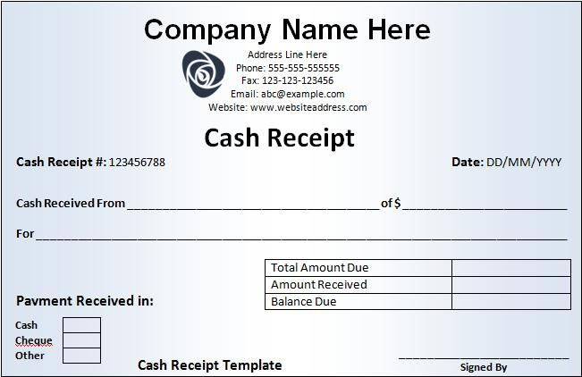 Company Letterhead On Receipt Cash Receipt Template  Cheque Receipt Template