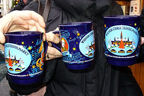 Vienna Christmas Market Glühwein mugs - I now have a new collection of mugs - got one at nearly each market we visited. The favorite drink of mine was some sort of hot eggnog. Anything warm was welcome.