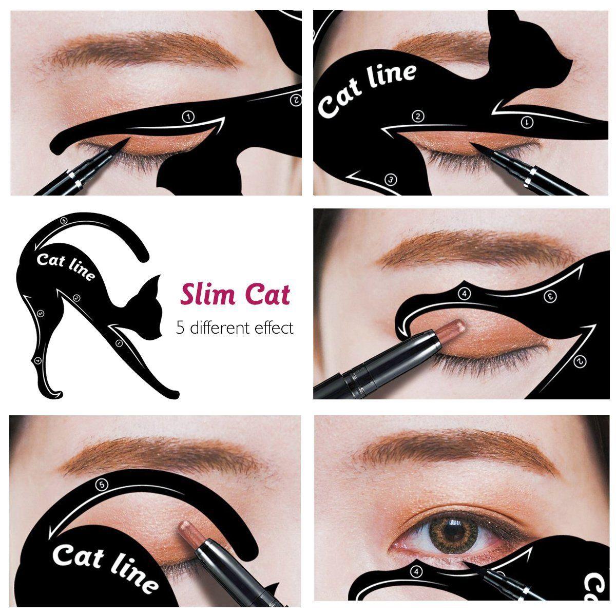 IBEET Cat Eyeliner Stamp Stencil Kit Cat Shape Eye Shadow Guide ...