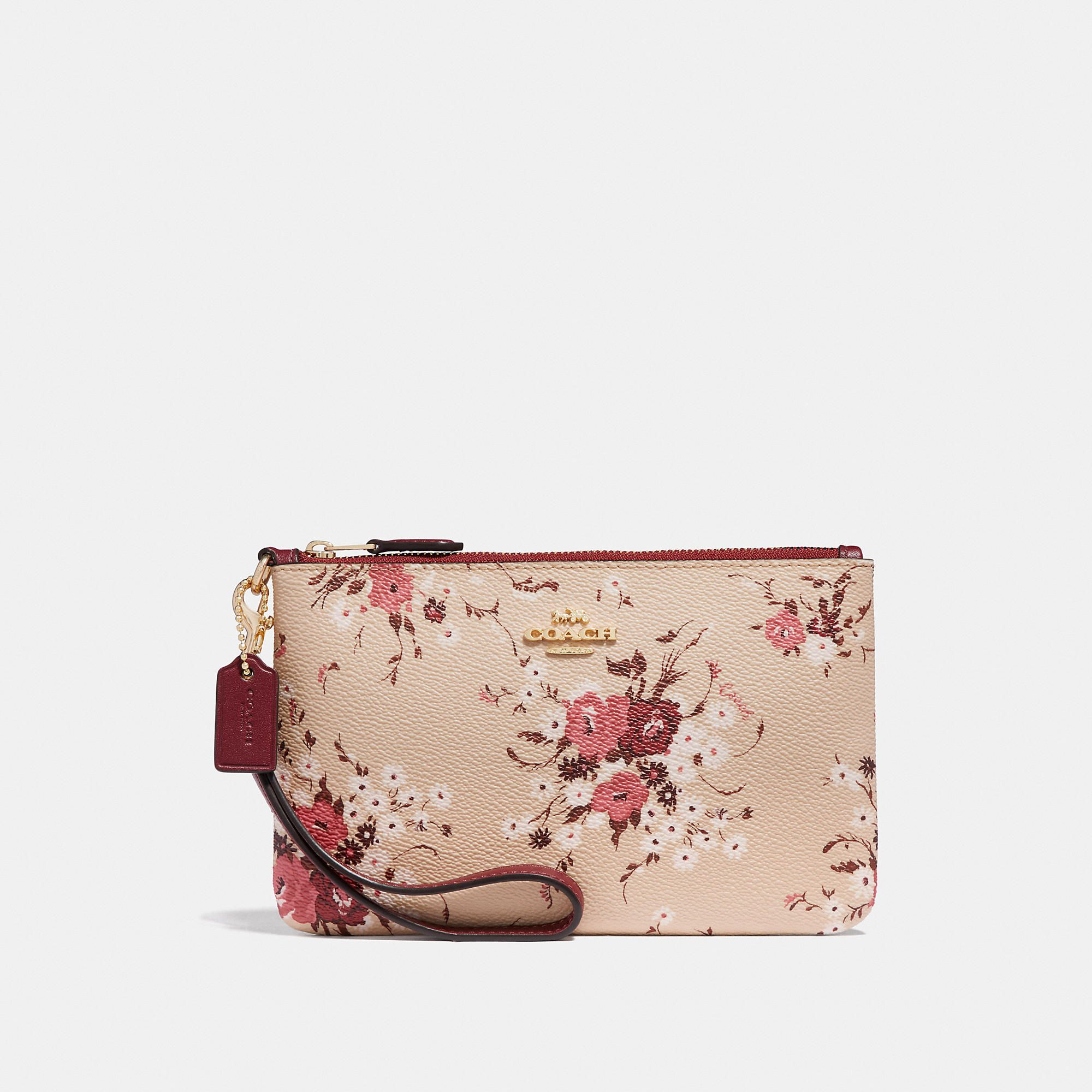 797368f86f Small wristlet with floral bundle print in 2019 | Products | Coach ...