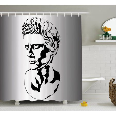 a95ed27408bd Toga Party Shower Curtain, Graphic Statue Design of Augustus Roman ...