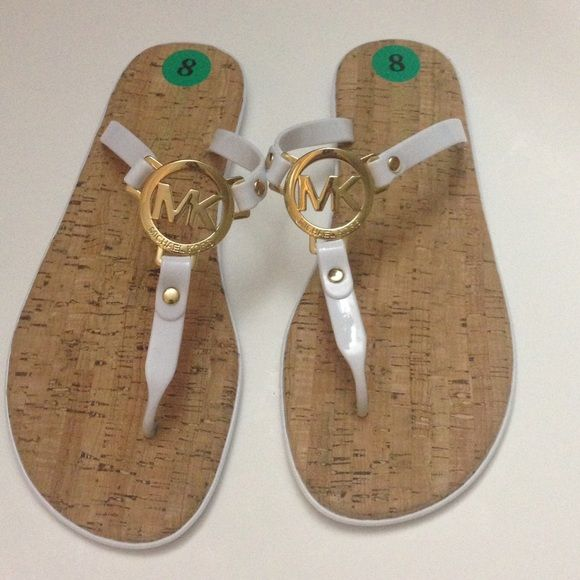 2e261bc99 New Michael Kors White Jelly Cork Sandals GUARANTEED 100 % Authentic New  Without Box MICHAEL KORS Flip Flop Sandals. White Women's Size 8. PVC upper.
