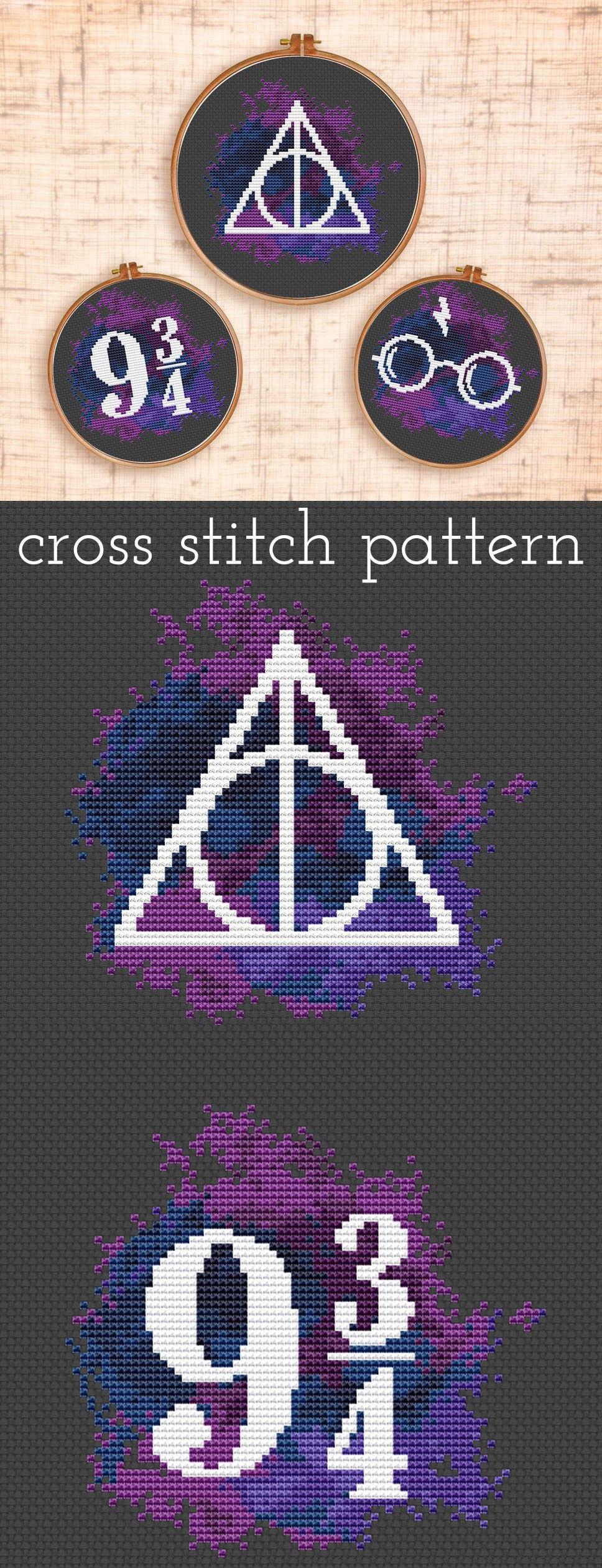 set of three harry potter cross stitch patterns platform 9 3 4 deathly hallows sticken. Black Bedroom Furniture Sets. Home Design Ideas