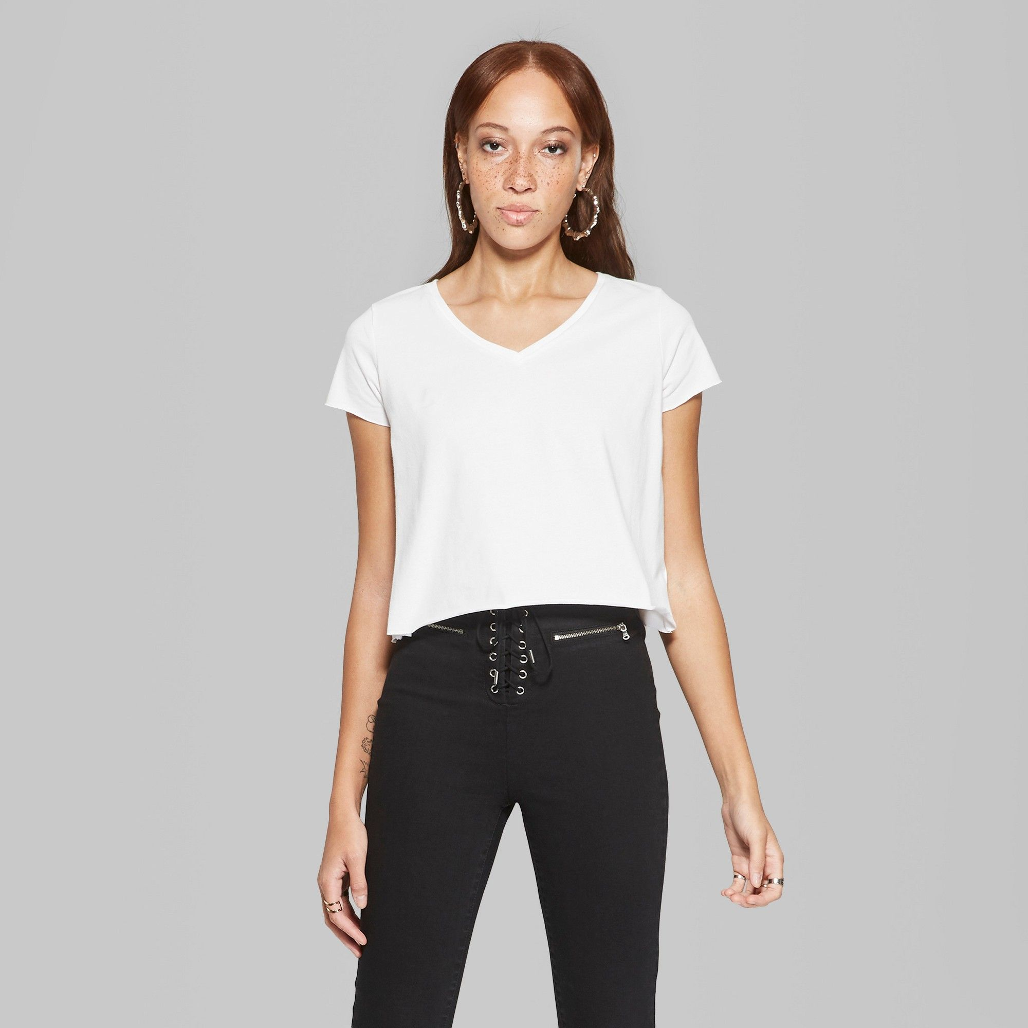 7f9ff6390d Women's Basic Sleeve V-Neck Boxy T-Shirt - Wild Fable White XS. Women's  Cropped Short ...