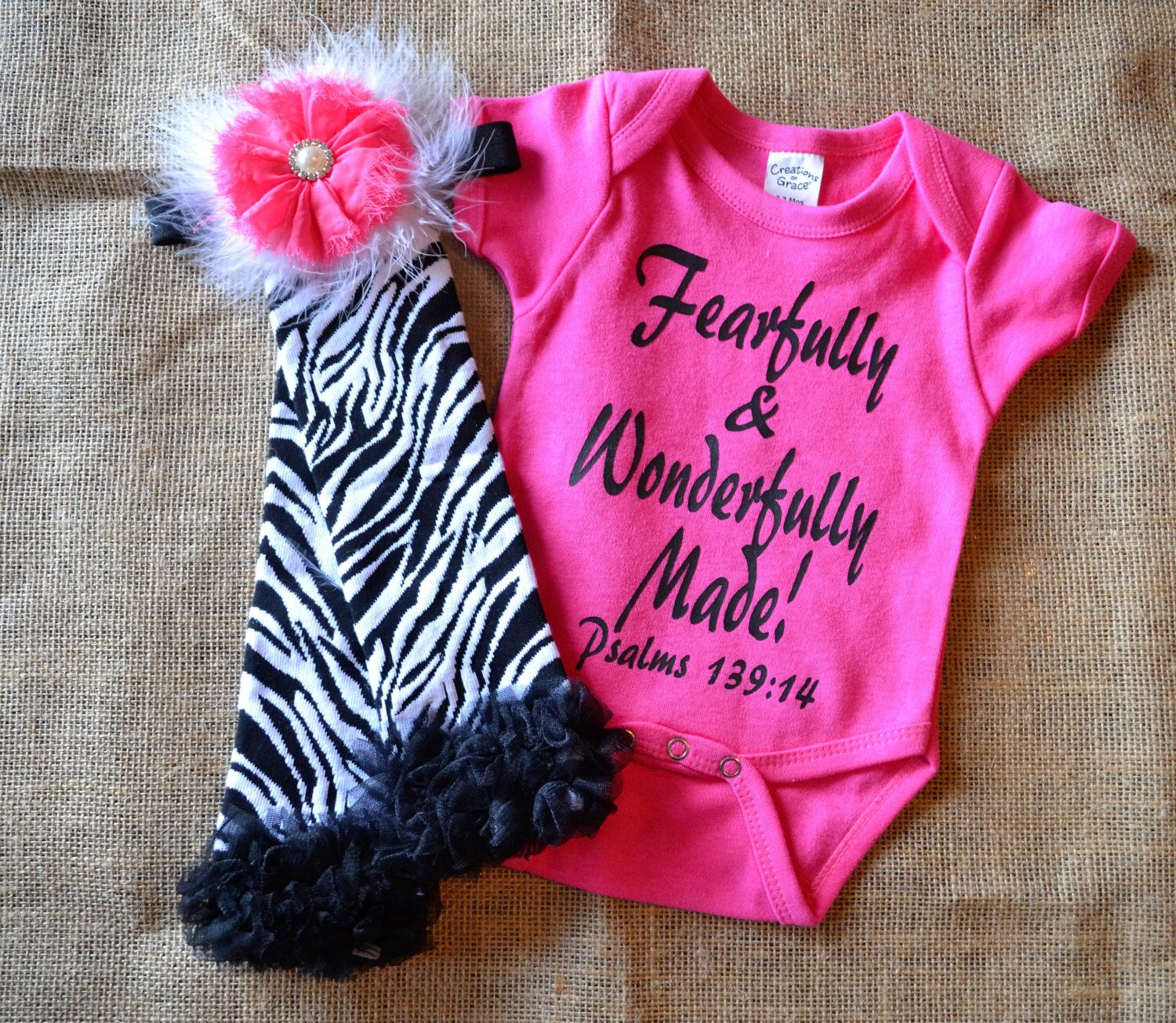 0 3 Months Baby Girl Fearfully & Wonderfully Made esie with
