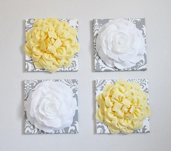 Wall Flower Decor Fiber Art 3D Flower Art 12X12 Canvas Yellow ...