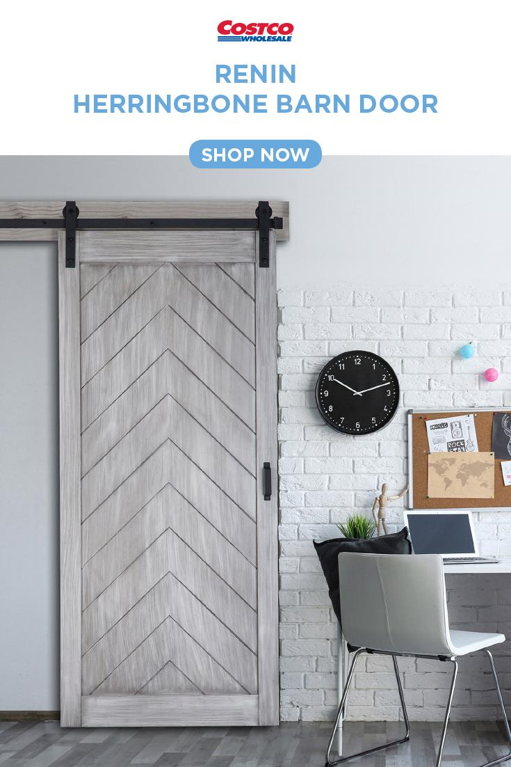 Renin Herringbone Barn Door With Hardware Kit Easy Glide Soft Close Doors Garage Door Design Easy Home Decor
