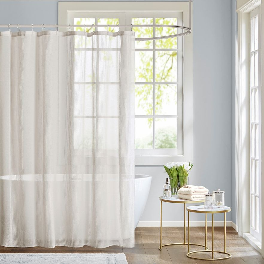 Madison Park Lydia Sheer Fabric Shower Curtain White