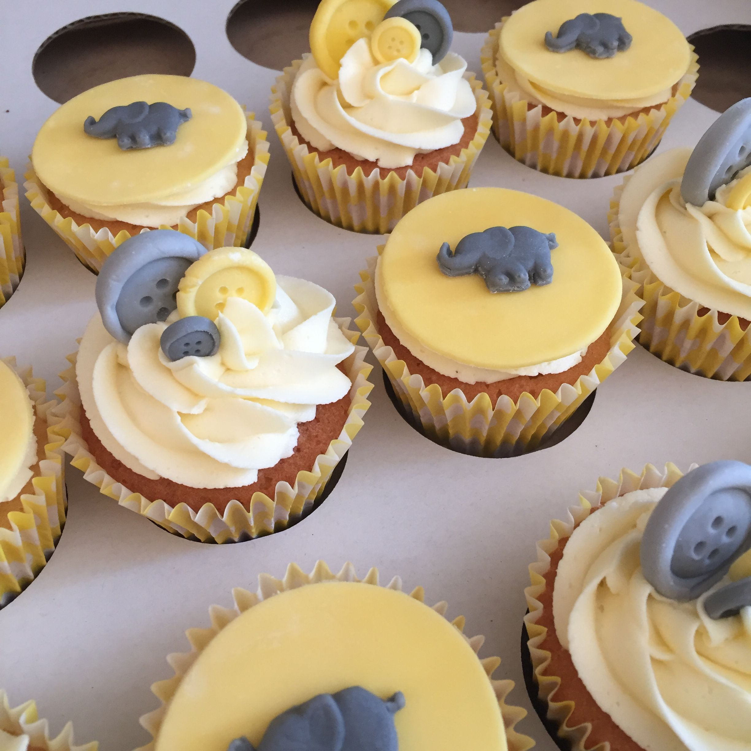 6  grey,lemon /& white baby vests,christening edible cupcake toppers