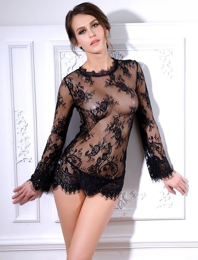 9349abc4836 Women Erotic Dress Black Transparent Sexy Lingerie Long Sleeve G String  ITC456…