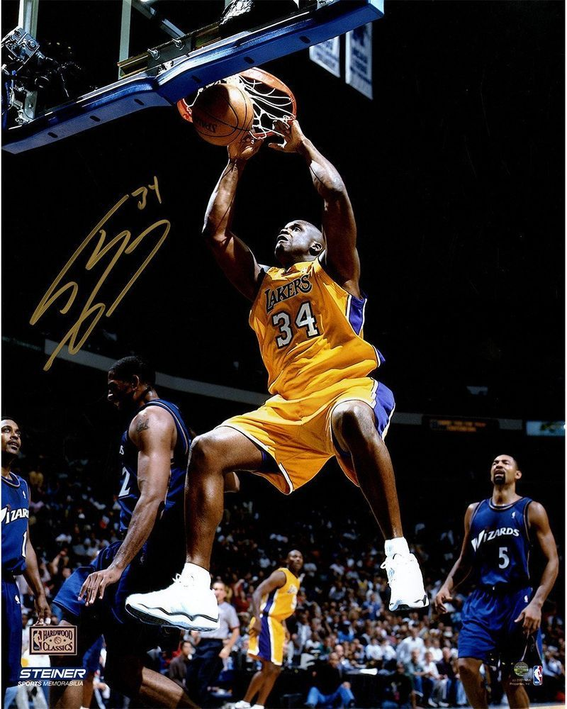 c24d4dea5d9 Shaquille O Neal Signed L.A. Lakers Yellow Jersey Dunk 16x20 Photo ( Signed  in G