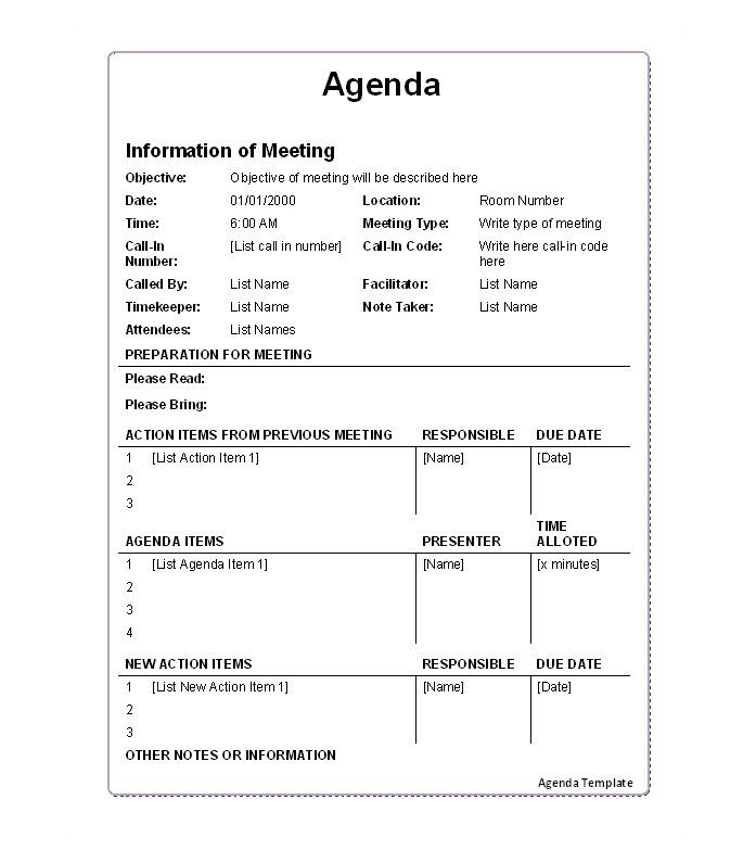 Business Meeting Agenda Agenda Sample Sample Generic Business