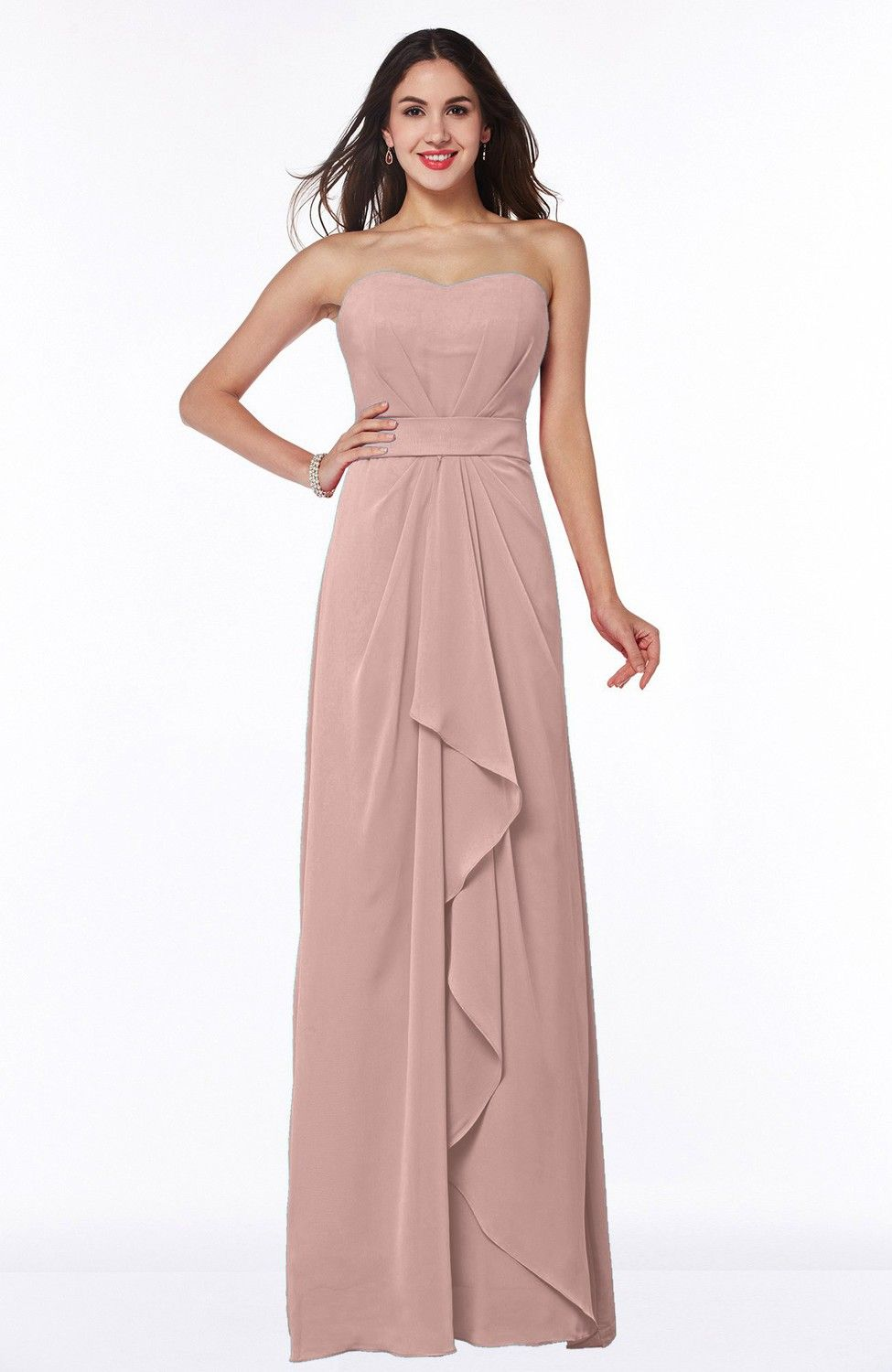 Dusty Rose Bridesmaid Dress - Traditional Strapless Zip up Chiffon ...