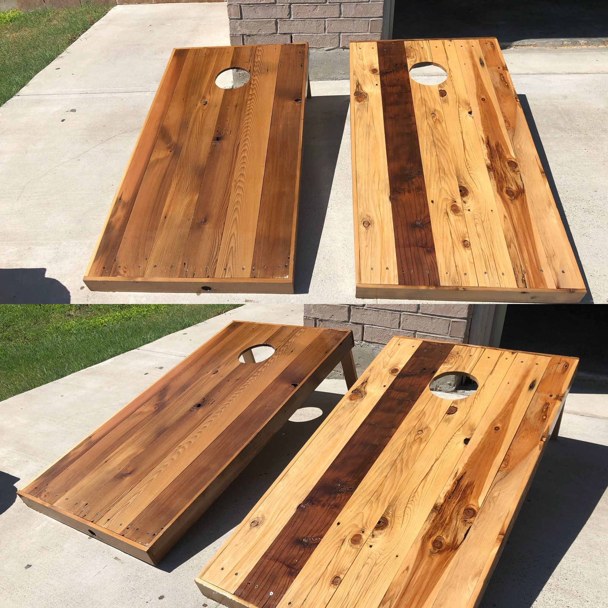 Corn hole boards made from cedar fence | Creative Pallet Designs by