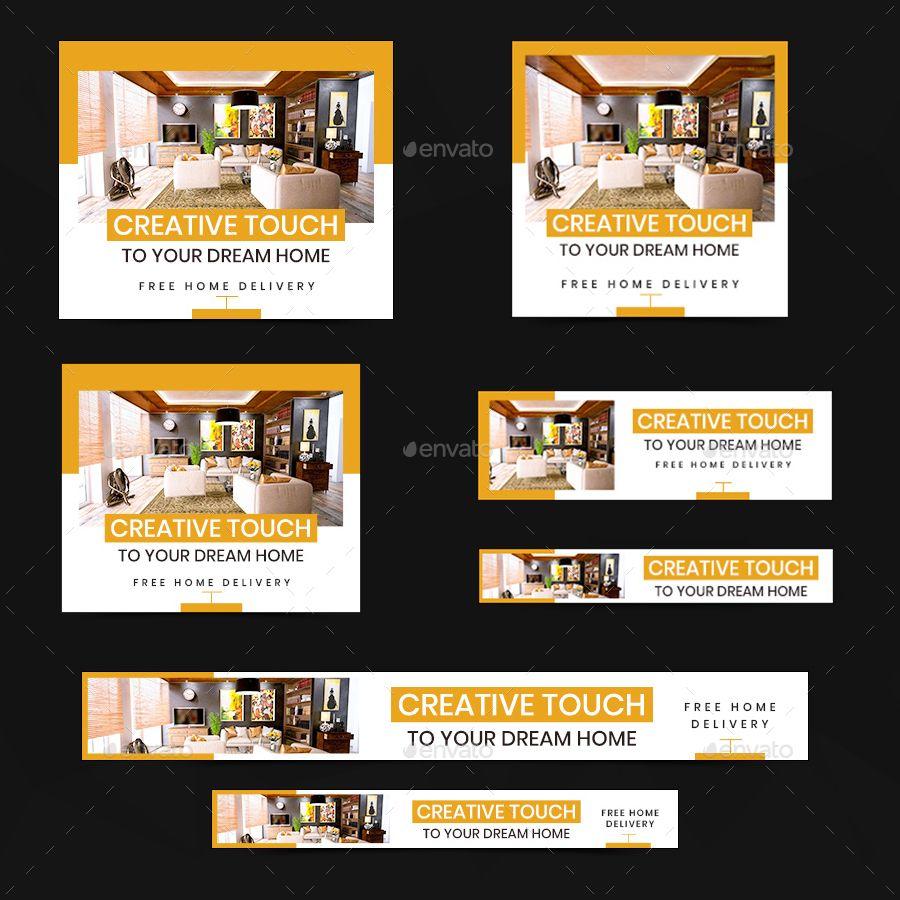 Interior Design Web Banner Set Encart Publicitaire Immobilier
