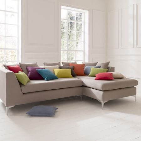 Beau Clarke And Clarke   Nantucket Fabric Collection   Large, Square, Stone  Coloured Corner Sofa, With Assorted Square And Rectangular Scatter Cushions  In ...