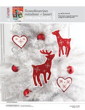 Scandinavian Reindeer Heart Ornaments Christmas Sewing Projects Christmas Crafts Felt Ornaments
