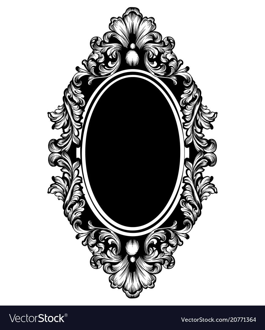 Vintage Luxury Mirror Frame Baroque Vector Image On Vectorstock Mirror Tattoos Baroque Frames Framed Tattoo