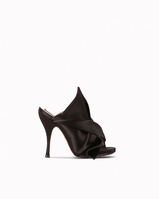 6cb6eee68356e6 Leather and fabric bow sandals N°21 Bow-effect sliders N°21  N21 ...