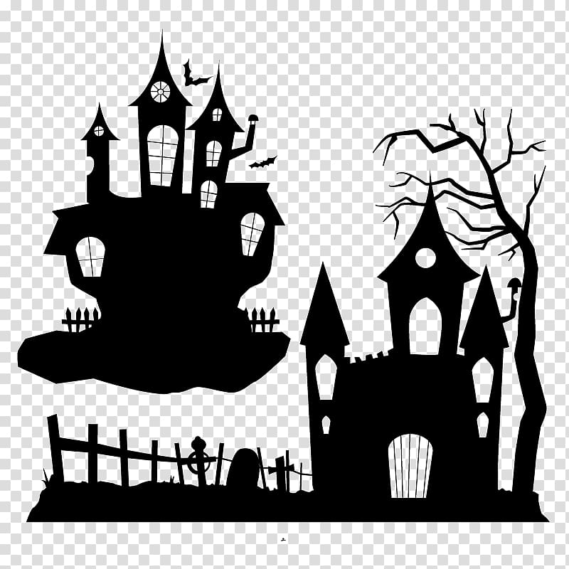 Halloween Ghost Party Halloween Haunted House Silhouette Transparent Background Png Clipart Halloween Silhouettes Halloween Jack O Lanterns House Silhouette
