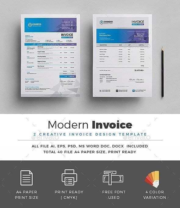 50+ Modern Invoice Templates (Word, Excel, InDesign
