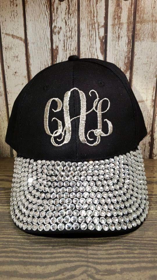 Monogrammed bling hat Bling baseball cap Chemo hat Monogram Custom bling cap  by AverillEmbroidery on Etsy 1aa15aa372b9