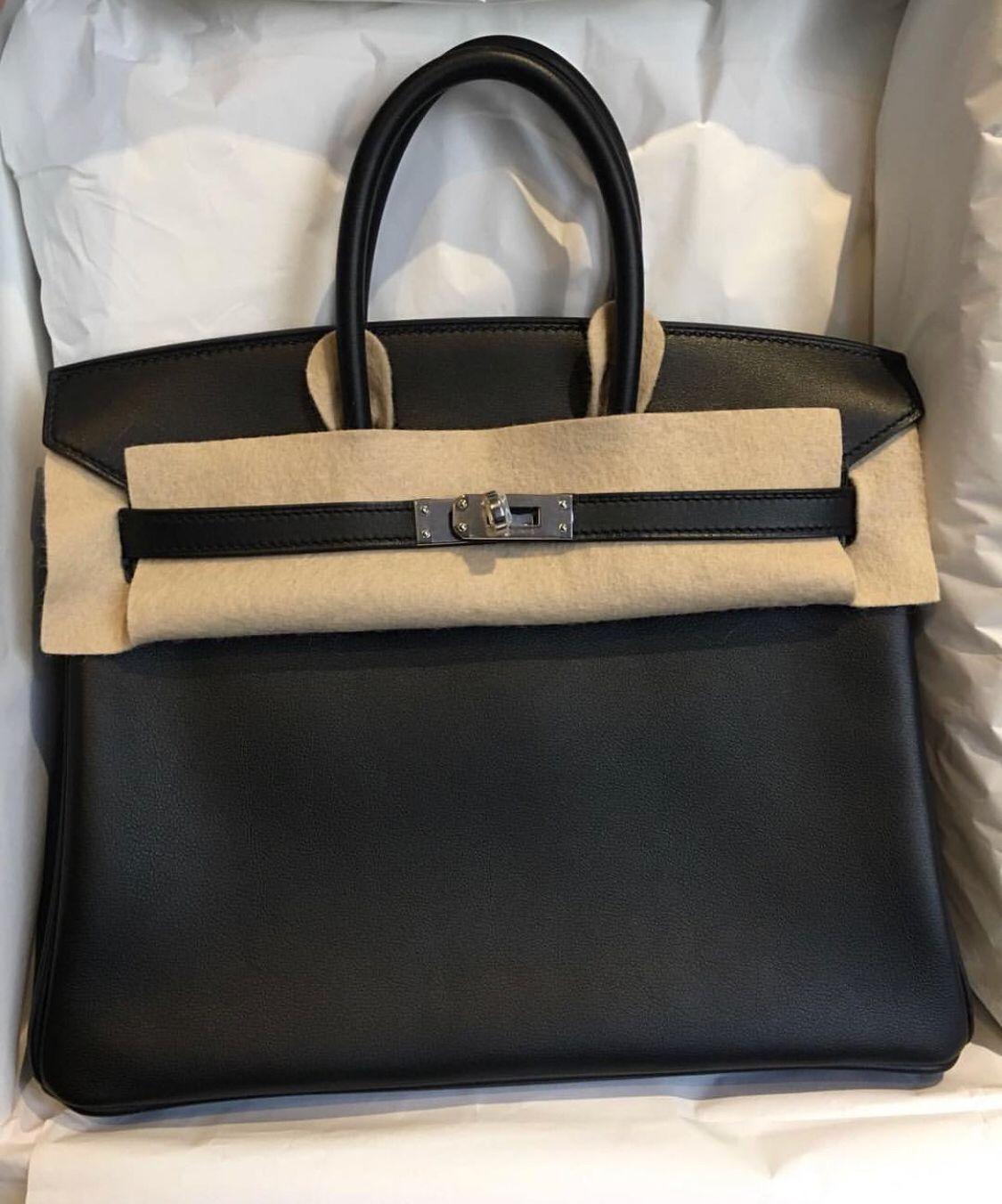 dd91e09a19 Hermès Birkin 25 Noir (Black) Swift Palladium Hardware PHW C Stamp 2018   birkin25