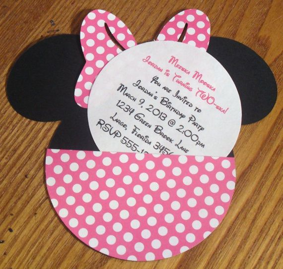 Minnie Mouse Birthday Party Invitations With Pink Red Or Zebra Bow