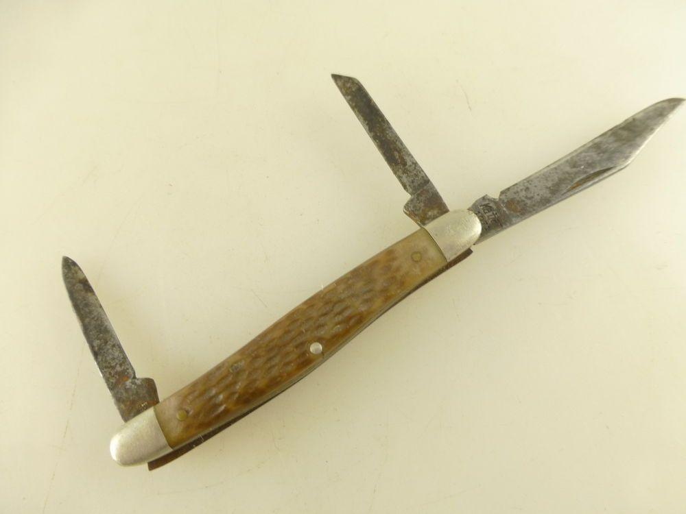 Vintage Kabar 1071 USA 3 Blade Dog Leg Pen Pocket Knife