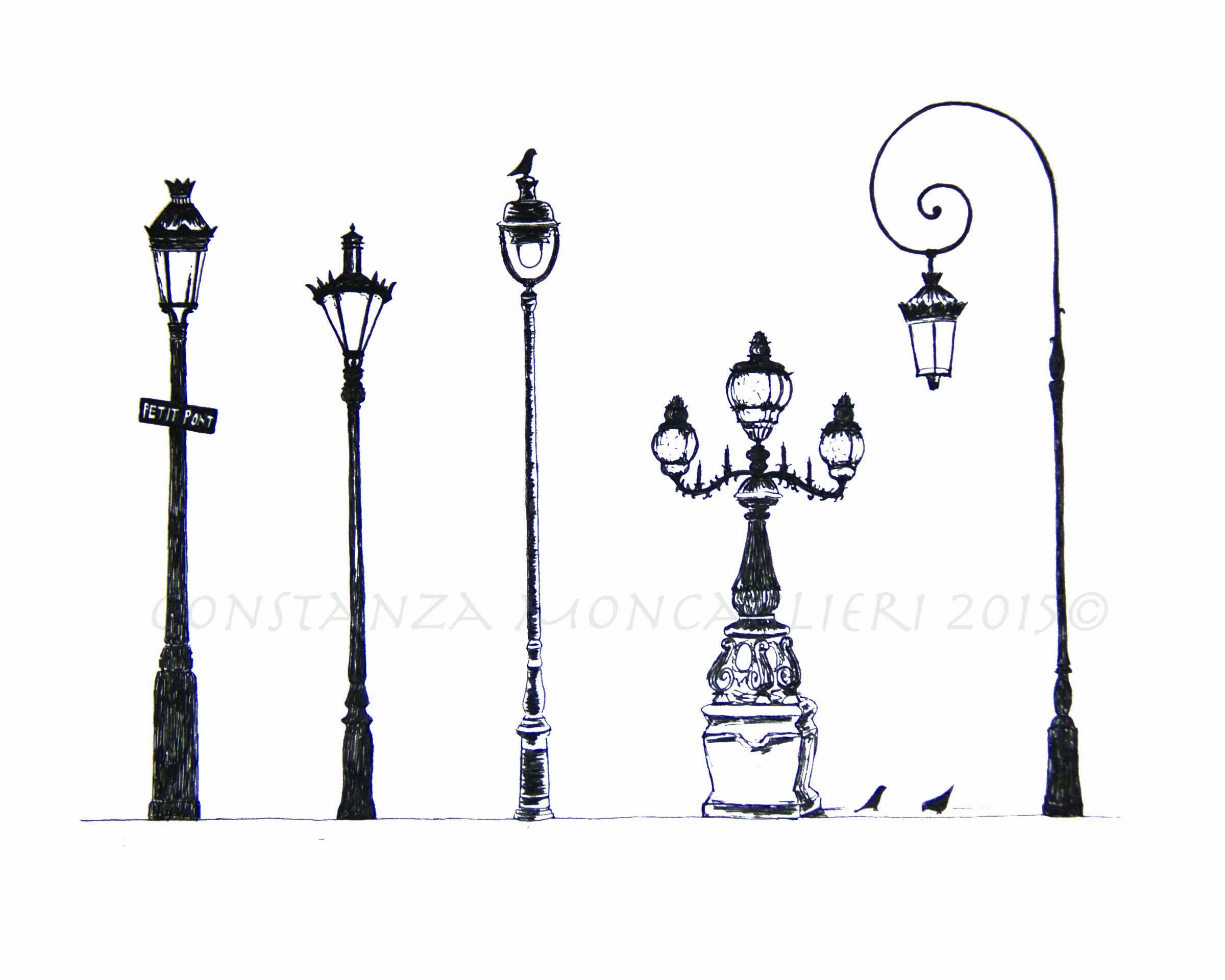 Pen and ink drawing, street lamps of Paris. Wall art.   Drawings ... for Street Light Drawing  545xkb