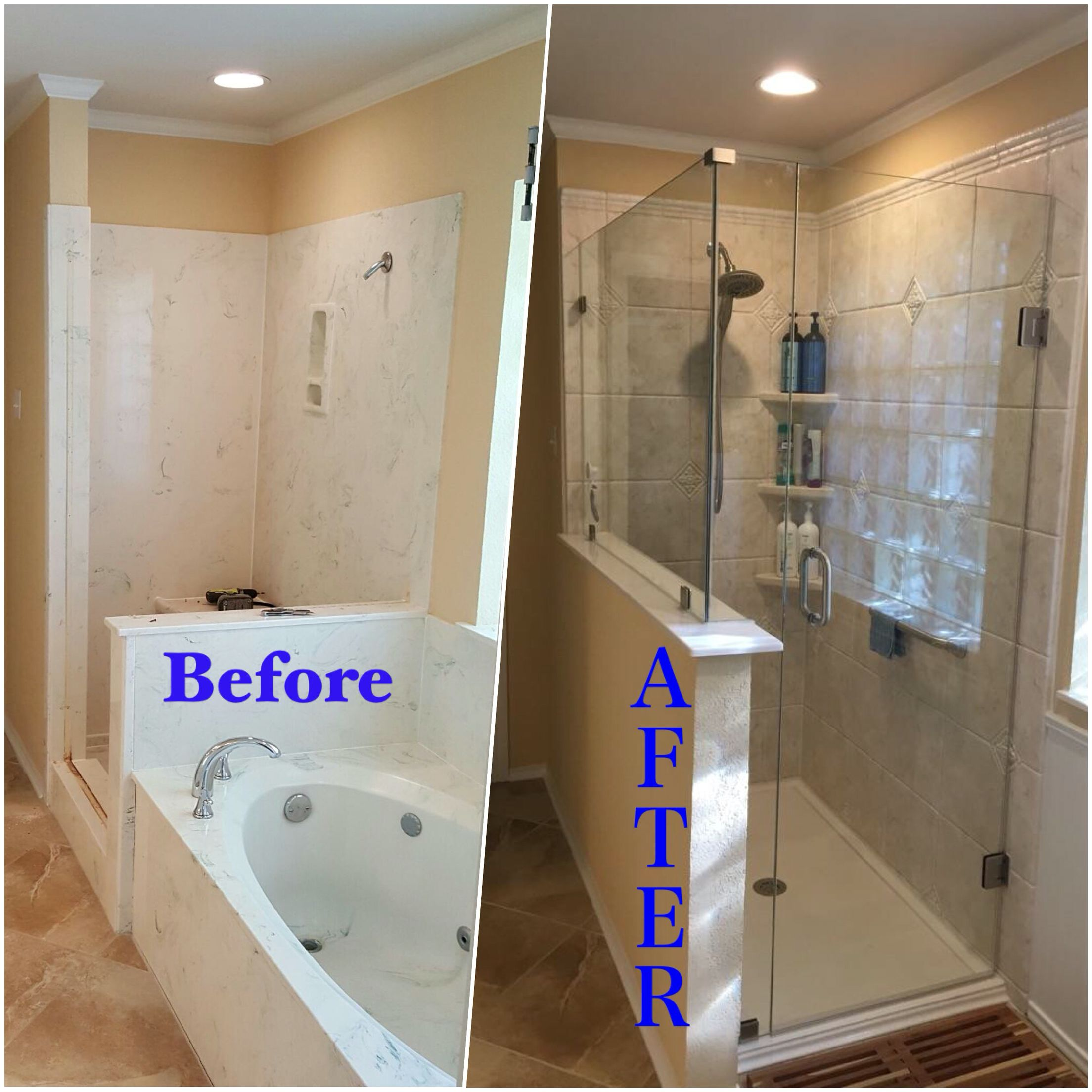 Custom walk-in shower and Iceberg and New Rebath shower ...