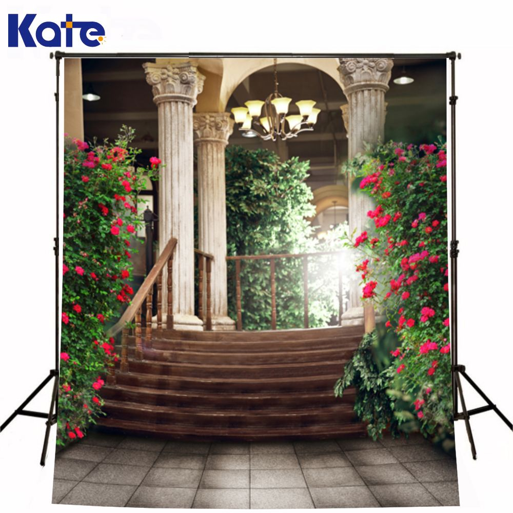 d08efd3b351 Romantic Wedding Photography Background Palace Stairs Sunshine Valentine Photo  Backdrops Sides Of Road Red Flowers for Studio