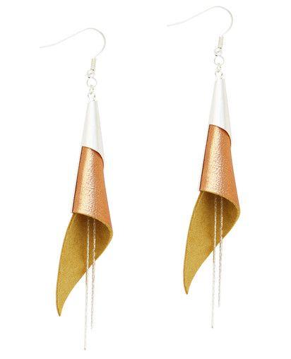 boucles d'oreilles cuir - leather earrings - boucles d'oreille arum - boucles d'oreilles saumon brillant - bijoux en cuir - Made by S▲R▲Y▲N▲- 28€ www.sarayana.fr