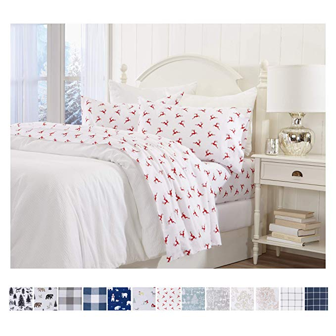 Amazon Com Great Bay Home Extra Soft Reindeer 100 Turkish Cotton Flannel Sheet Set Warm Cozy Luxury Winter Bed King Sheet Sets Sheet Sets Queen Sheet Sets