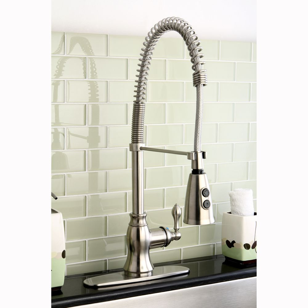 American Classic Modern Satin Nickel Spiral Pull Down Kitchen Faucet By  Kingston Brass