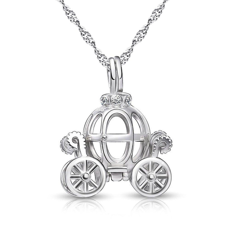 2ffb83d0e Amazon.com: 925 Sterling Silver Pumpkin Carriage Pendant Necklace, 18