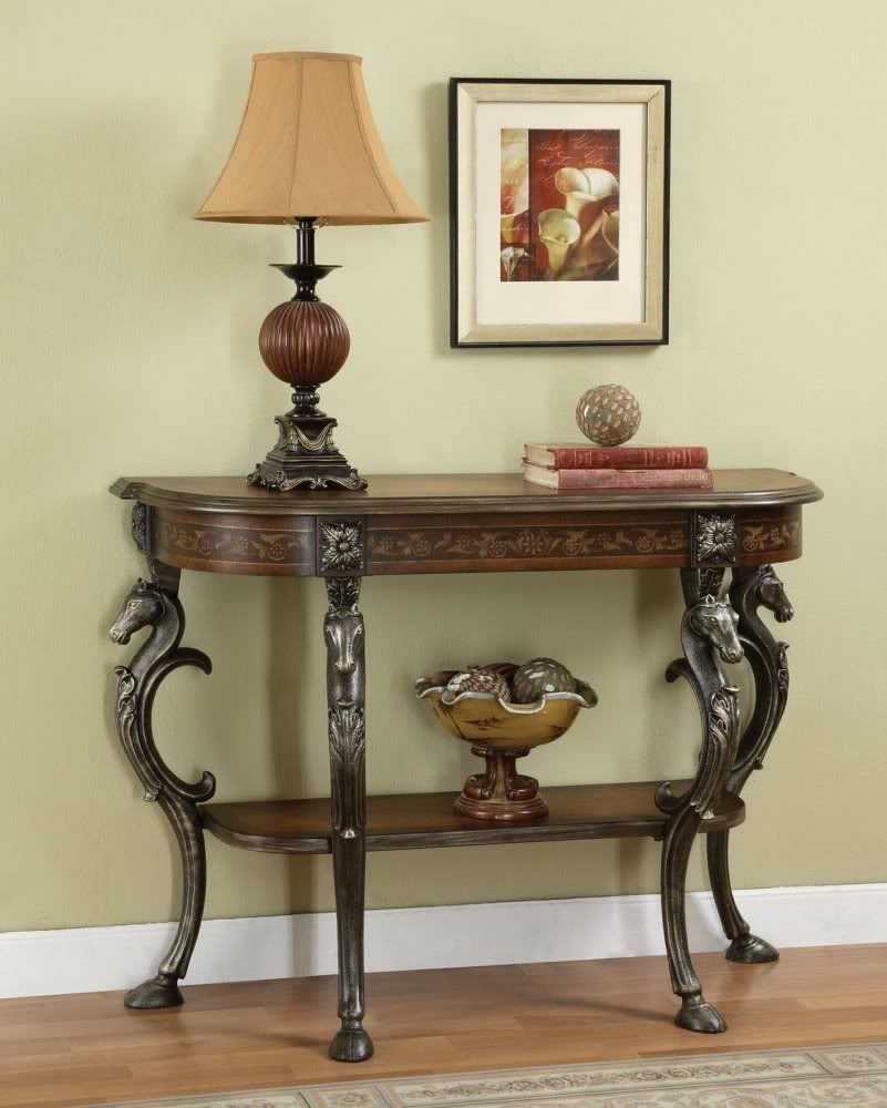 Powell furniture masterpiece demilune sofa hall console for Entryway furniture