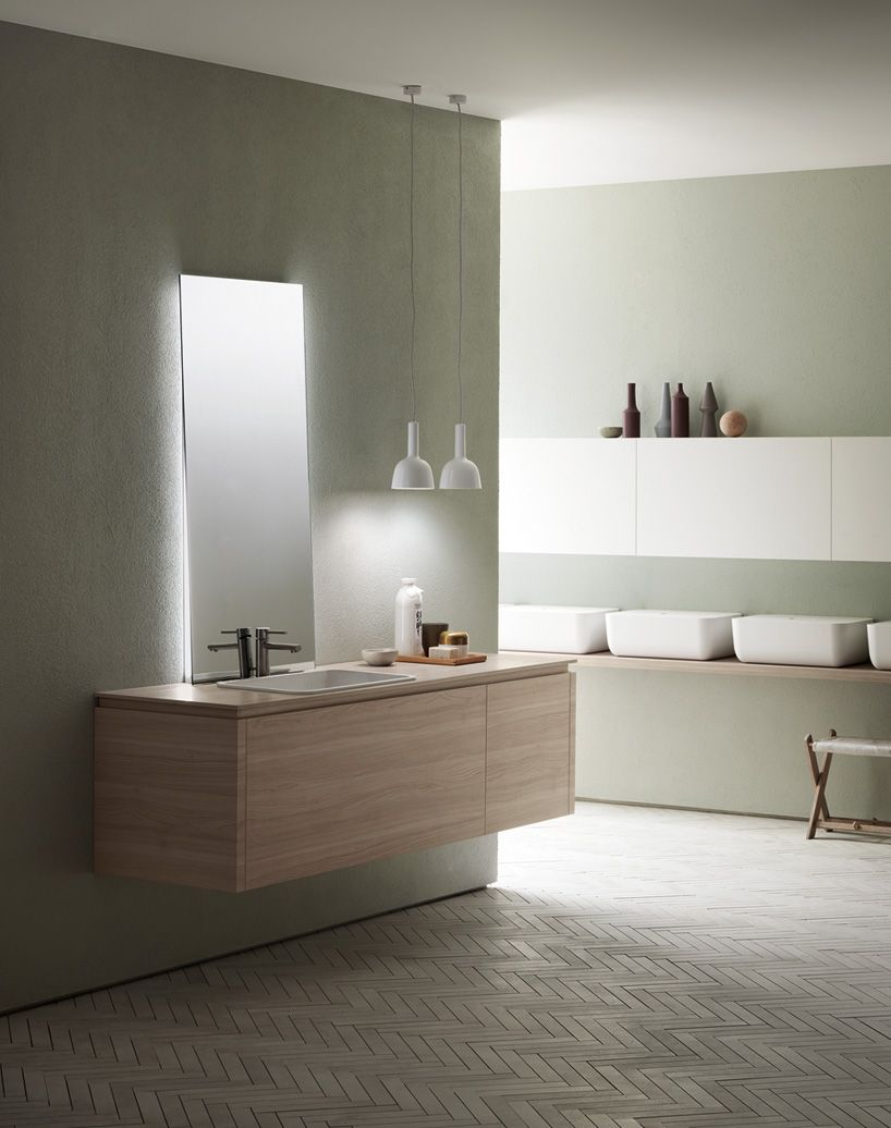 Nendo S Ki Kitchen Bathroom Schemes For Scavolini Structured On Containers Wooden Shelves Kitchens Bathrooms Bathroom Model Minimalist Home