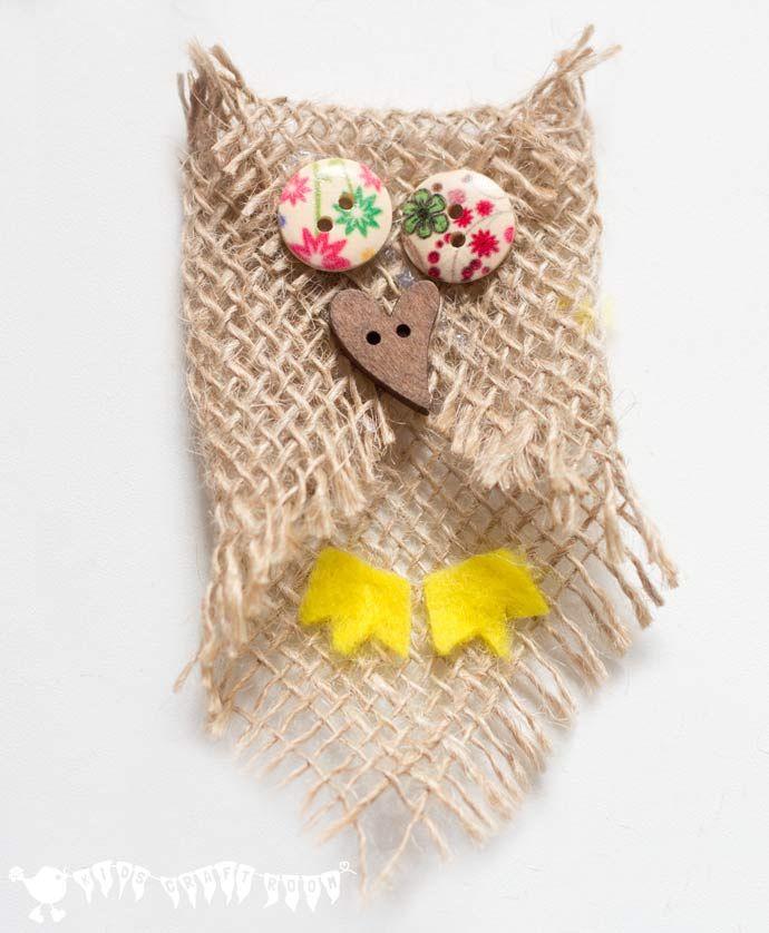 Cute button burlap owls burlap owl owl crafts and burlap baby cute burlap baby owl adorable no sew button and burlap owl craft an solutioingenieria Gallery