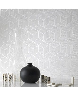 . Cubix White Geometric Wallpaper   Graham and Brown   home body