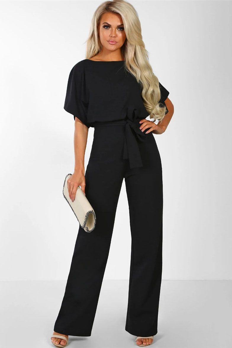 8f3888710 Short sleeve round neck long jumpsuit-Black Wide Pants, Loose Fitting Tops,  Batwing