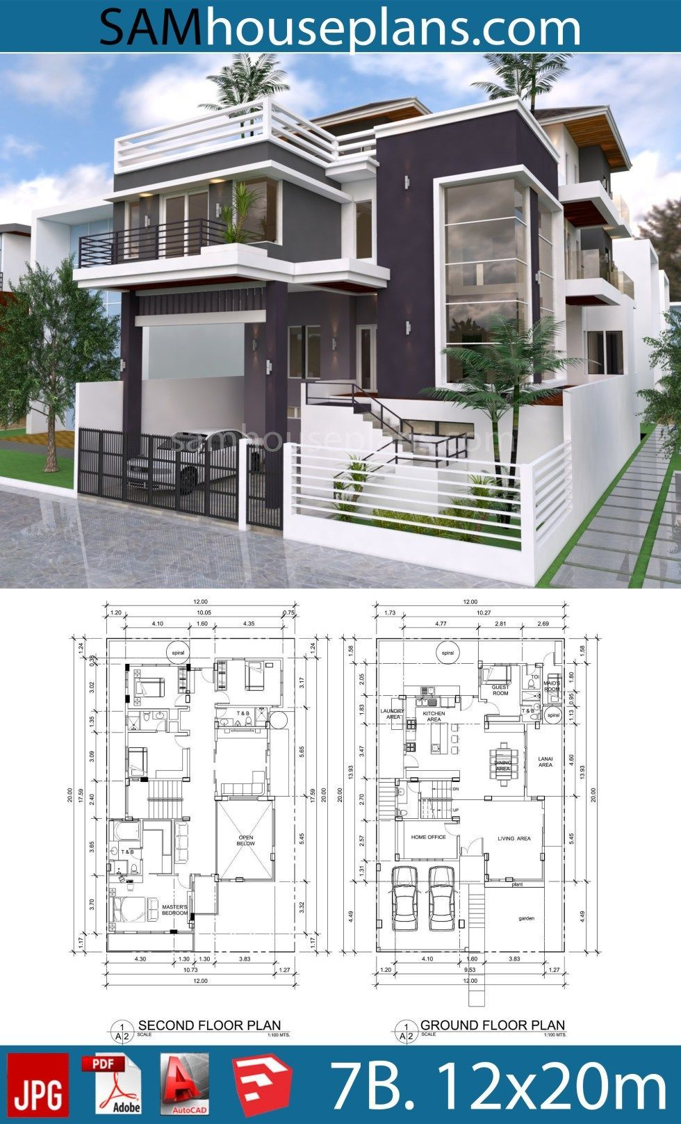 House Plans 12mx20m With 7 Bedrooms Sam House Plans In 2020 Architectural House Plans House Projects Architecture Duplex House Design