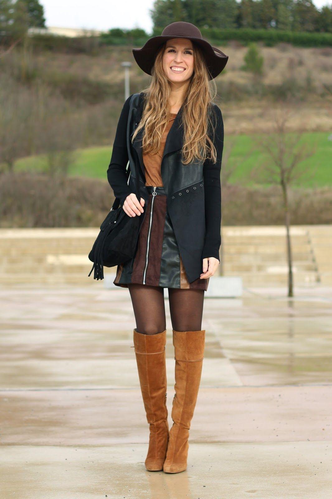 Falda patchwork falda colores look setentero botas por - Combinar color marron ...