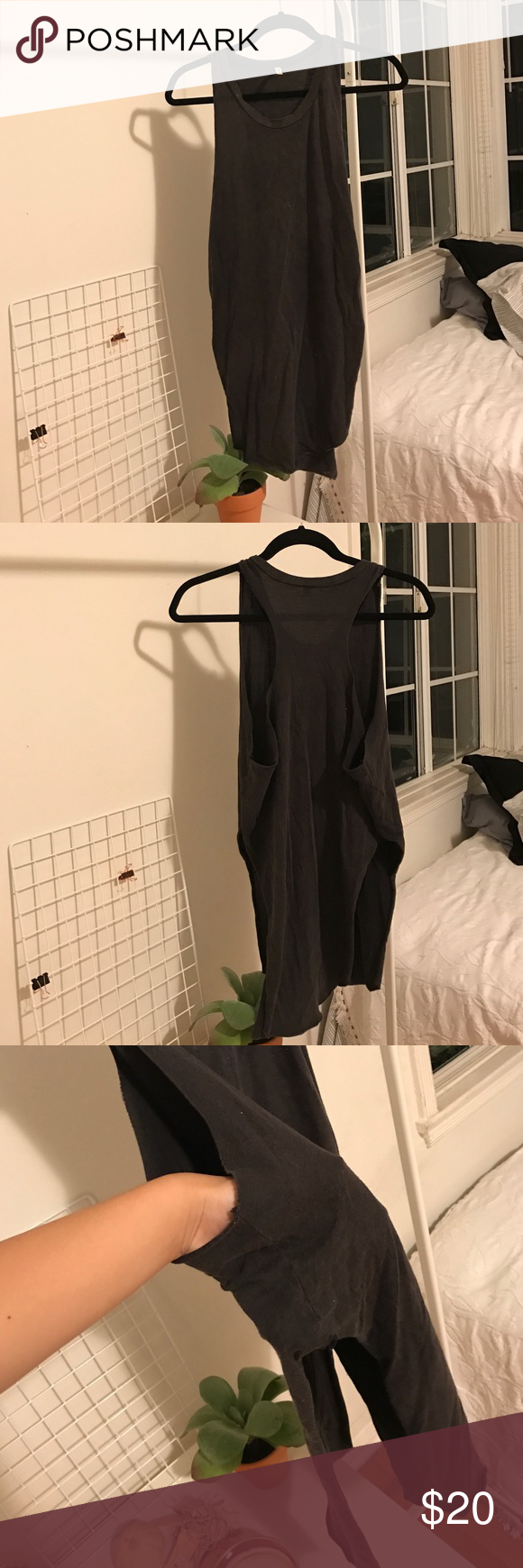 LF Emma & Sam Racerback Tank Top New, Never worn! Small Gray Racerback Tank Top W/ High Slits on the Sides. You can make a knot in the front & it's super cute & comfy!! LF Tops Muscle Tees