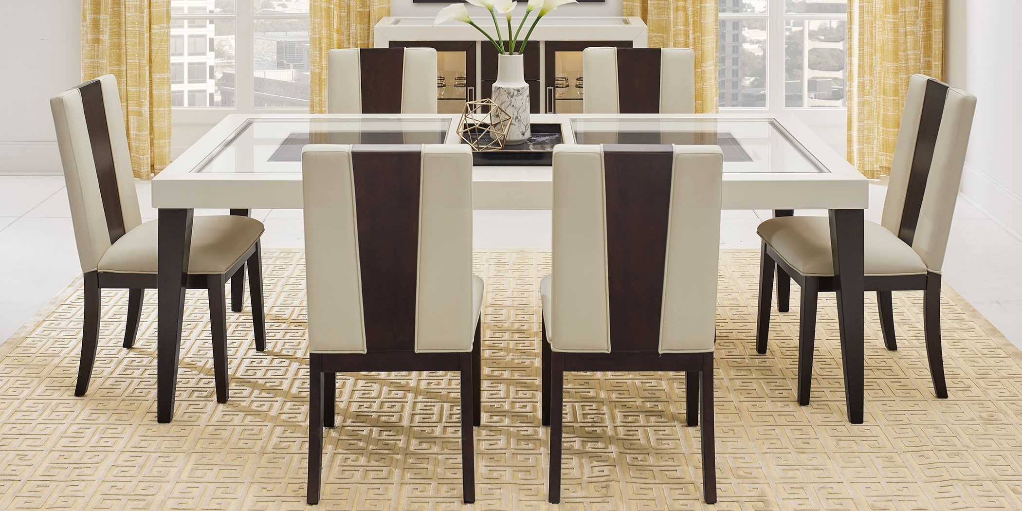Sofia Vergara Savona Ivory 5 Pc Rectangle Dining Room with ...