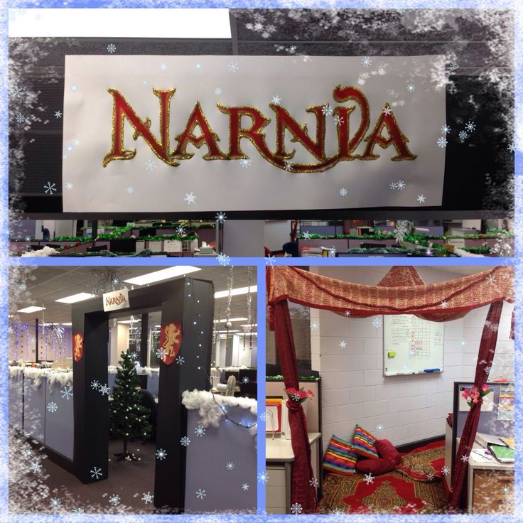 Christmas Decorations in the office - Narnia theme.