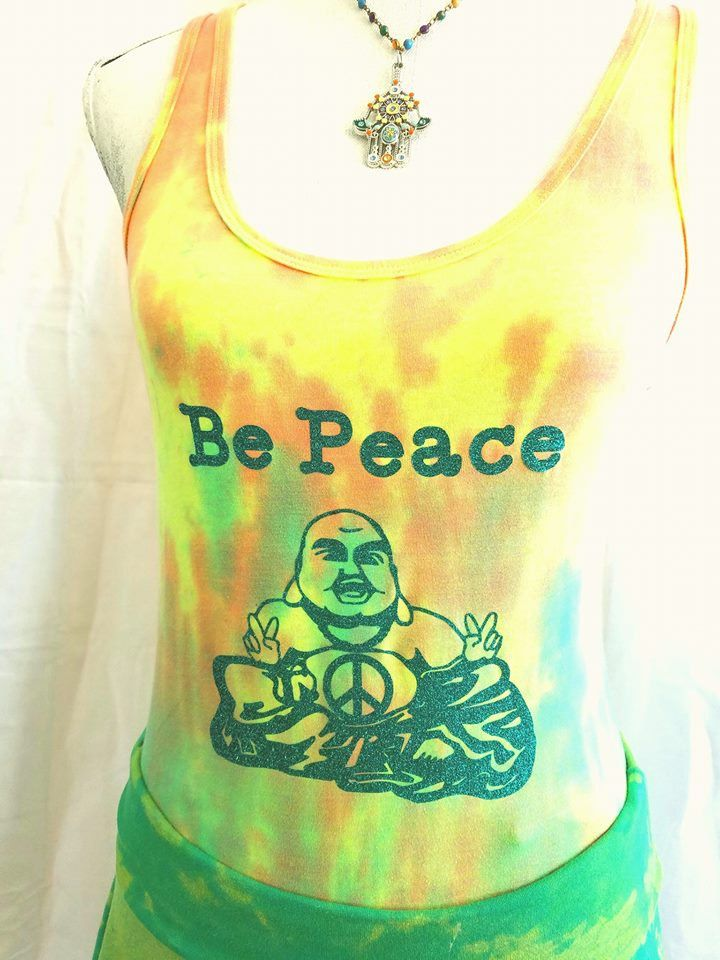 Be Peace Buddha Tie-Dye Yoga Tank top in size Large! by BeEverythingTieDye on Etsy